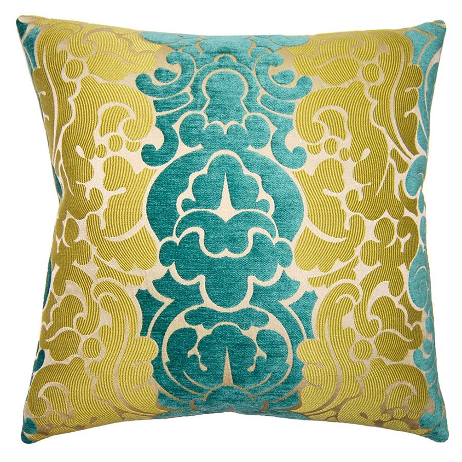 Peacock Grace throw pillow invites your touch with textures in contrasting blue and green