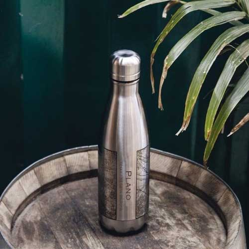 Engraved Insulated Map Bottle - Plano