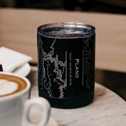 Engraved Insulated Matte Black Map Cup - Plano