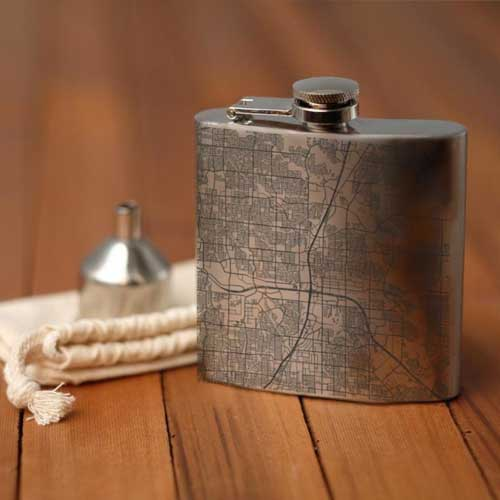 Engraved Map Hip Flask - Plano