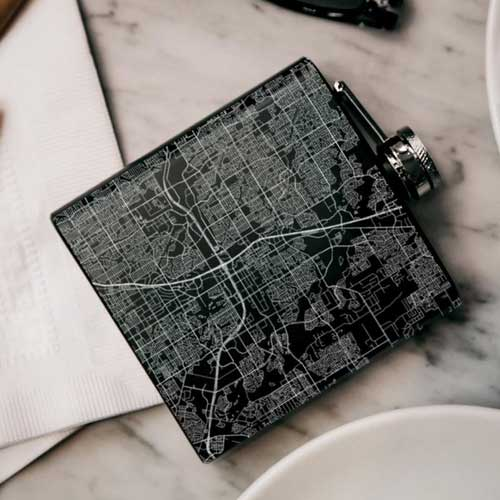 Engraved Matte Black Map Hip Flask - Plano