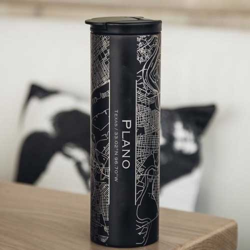 Engraved Map Tumbler Matte Black - Plano