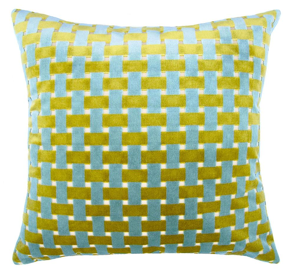 Pond Weave throw pillow adds contrast with its light blue and green weave stripes by Square Feathers