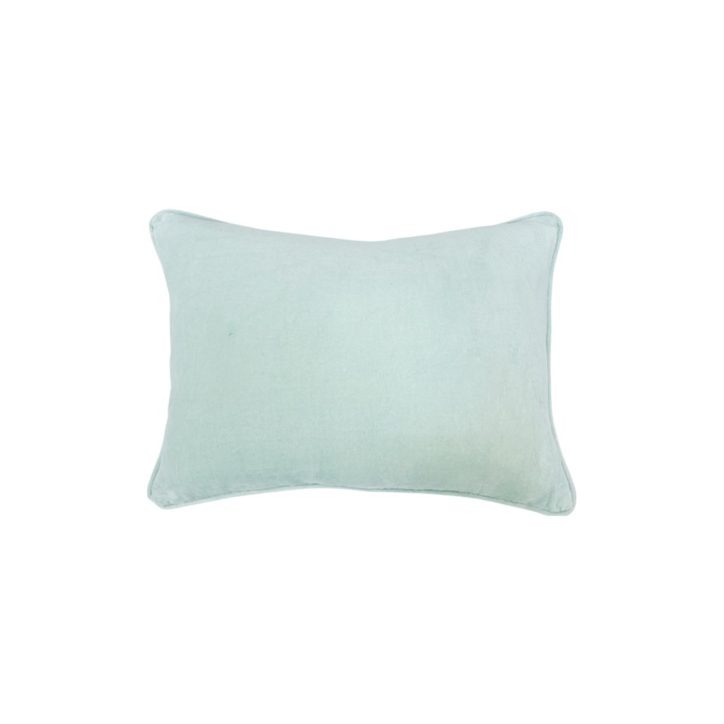 Robin's Egg Blue Velvet Pillow from Laura Park Designs, lumbar