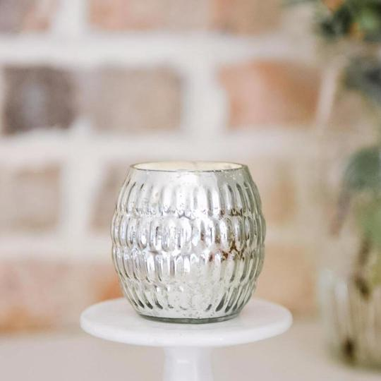 Steel City Gracie Oval Votive candle in silver mercury glass from Crave Candles Compamy