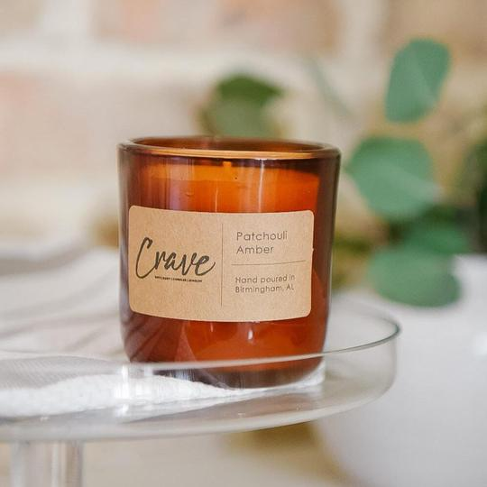 Amber Glass candle in Patchouli Amber scent from Crave Candles Co,
