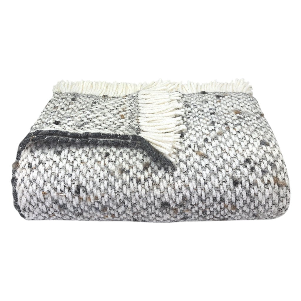 Chunky gray weave alpaca throw blanket in white and gray with charcoal edging, folded