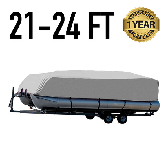 Pontoon Boat Cover : 21-24 FT : 1 Year Warranty
