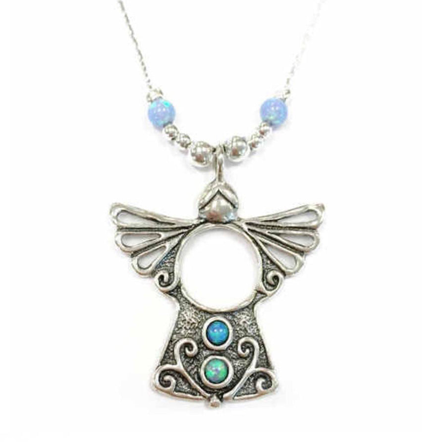 925 Silver  Guardian Angel Pendant with opals