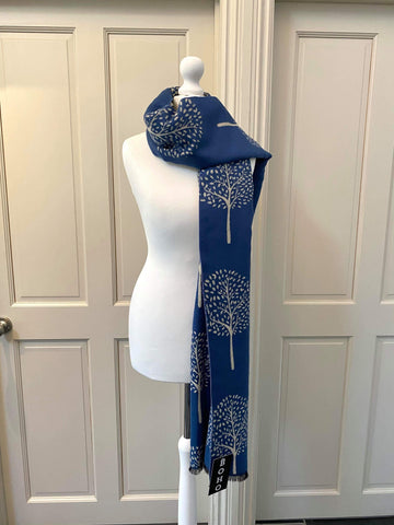 Mulberry Scarf - Mid Blue/Cream