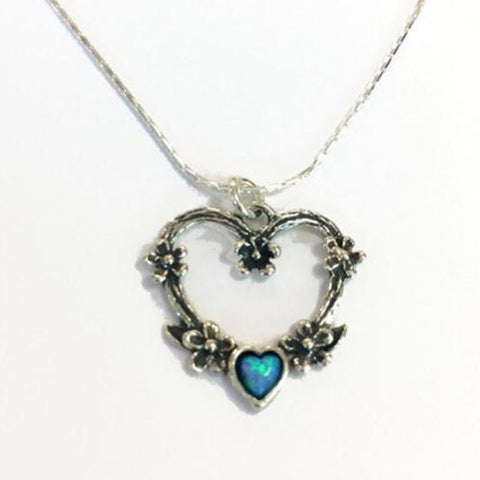 925 Silver Open Heart Pendant With Opal Love Heart With Small Flowers