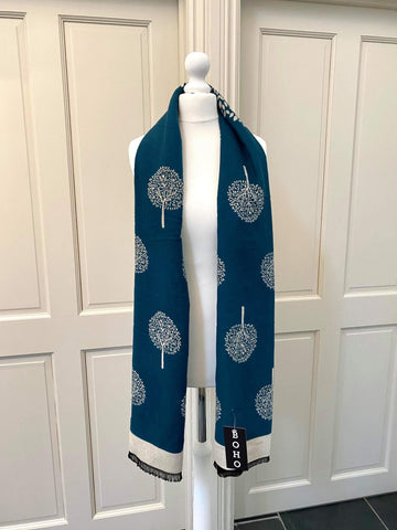 Mulberry Scarf - Teal/Cream
