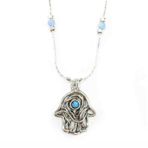 925 Silver Hamsa Hand Pendant With Opal