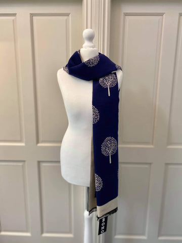 Mulberry Scarf - Navy/Cream