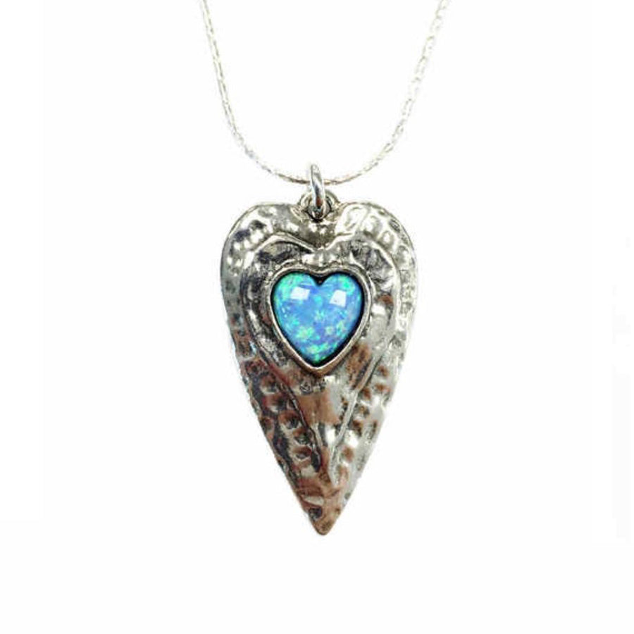 925 Silver Heart Pendant With Opal