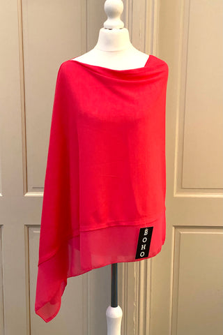 Light Weight Poncho - fushia