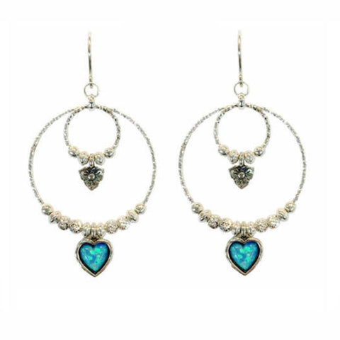 925 Silver Sparkly Hoops Earrings With Opal heart