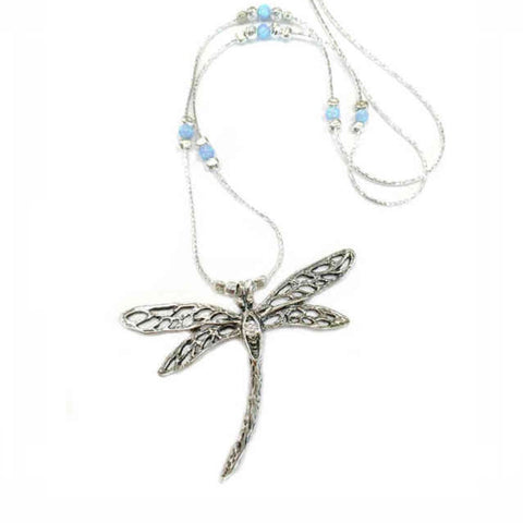 925 Silver Dragonfly Pendant with opal