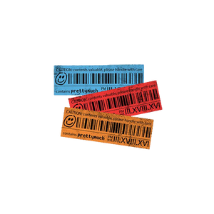 Caution Label Barcode Sticker Set