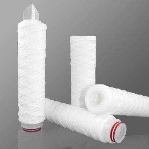 String Wound Cartridge Filter, Polypropylene (industrial), 10 micron, Stainless 304 Core, 30