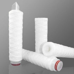 "String Wound Cartridge Filter, Bleached Cotton, 40 micron, Polypropylene Core, 20"" Length, 2.5"" Diameter - Pkg Qty 15"