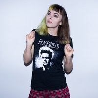 Eraserhead Henry White Logo Printed on Black Shirt Pictured on Model