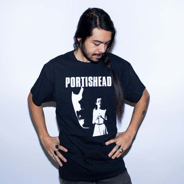 PORTISHEAD Shirt Black Short Sleeve White Lead Singer Printed Logo Worn by Male Model