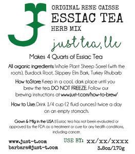 4 dry tea packets of Just Tea Herbs - Essiac Tea 15.2oz (430.92g)