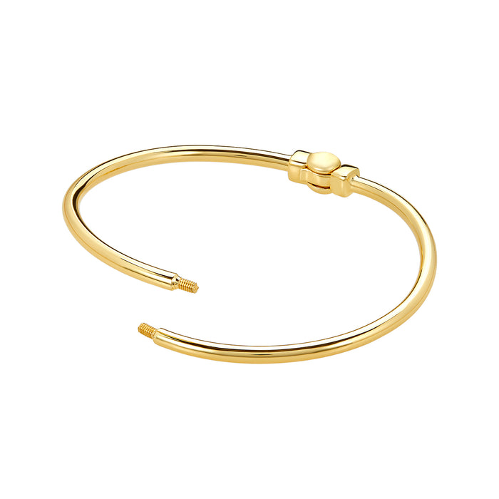 Golden Polished Bangle Bracelet in Medium/Large