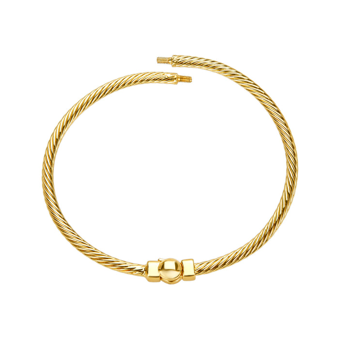 Golden Cable Design Bangle Bracelet in Medium/Large