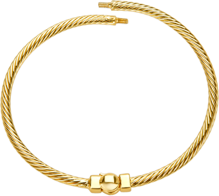 Gold hinged bangle bracelet with cable design to be used with DBW interchangeable bangle balls