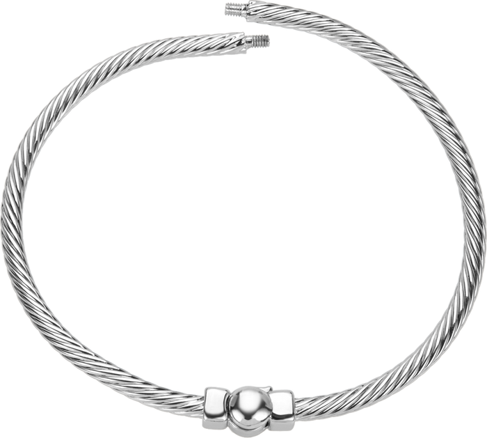 Silver hinged bangle bracelet with cable design to be used with DBW interchangeable bangle balls