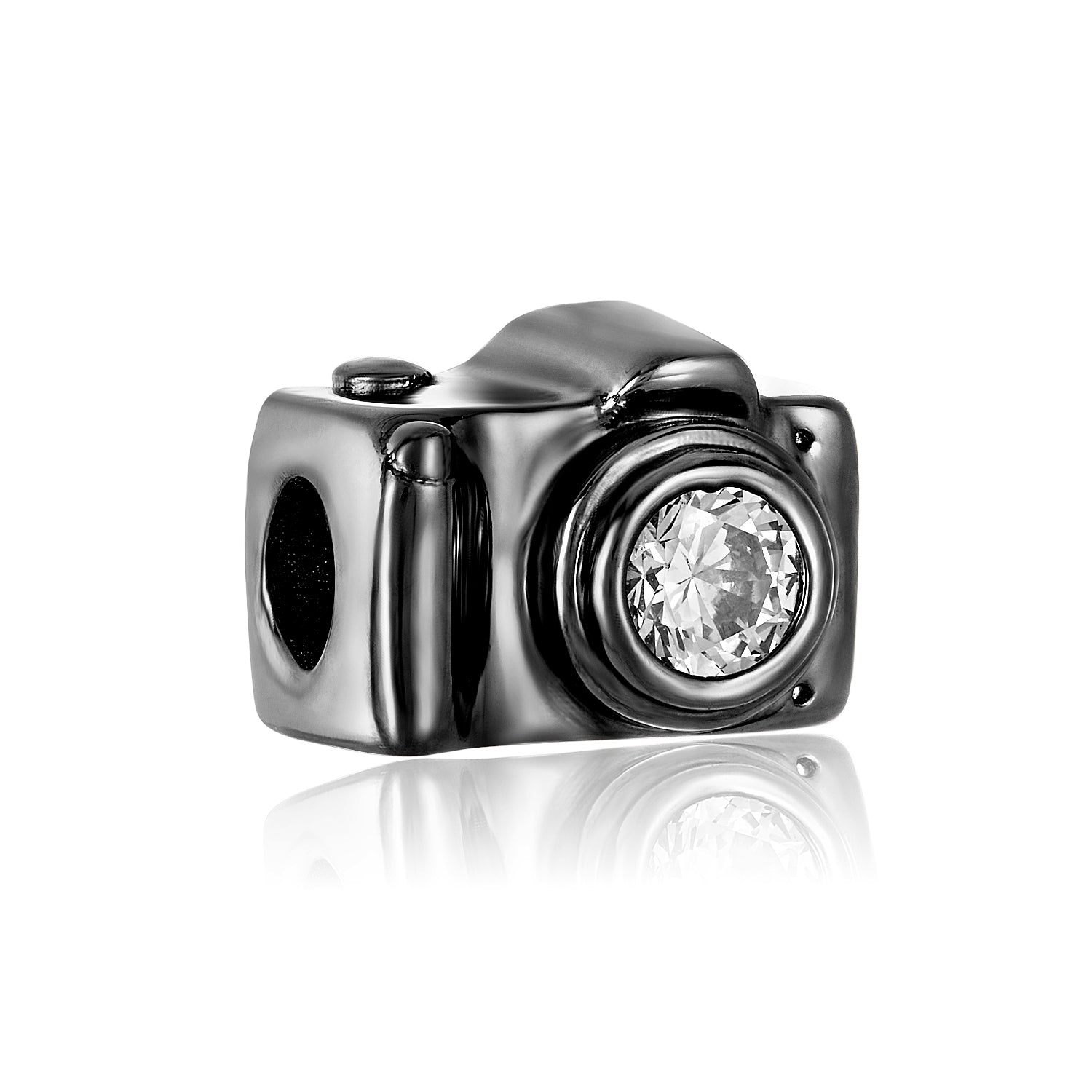 Black camera bead for use with DBW interchangeable jewelry line.