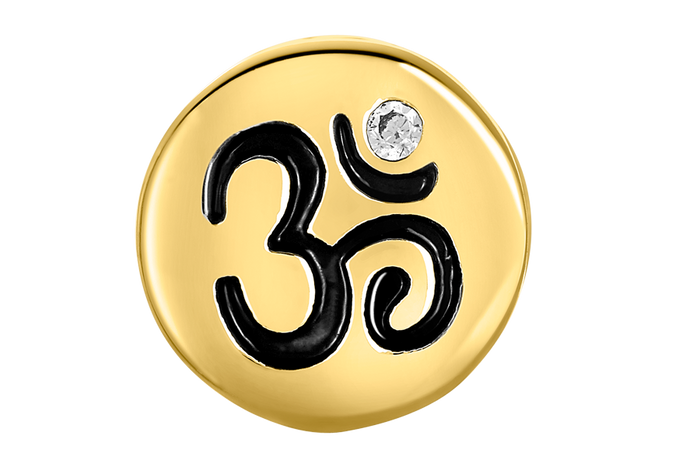 Gold OM bead for use with DBW interchangeable bracelets.