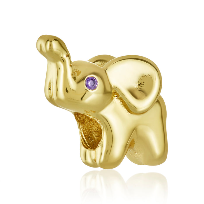 Gold elephant bead for use with DBW interchangeable bracelets.