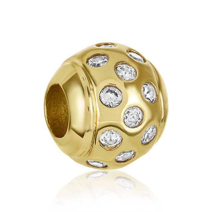 Gold bead with scattered CZ stones for use with DBW interchangeable bracelets.