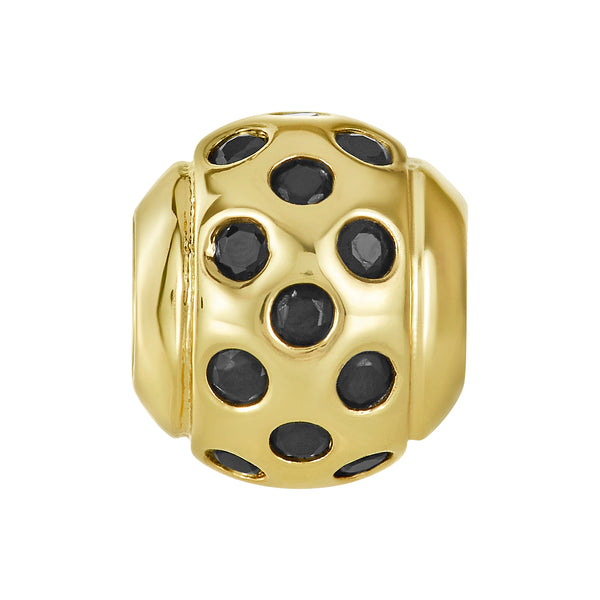 Golden Scattered Jet CZ Bead