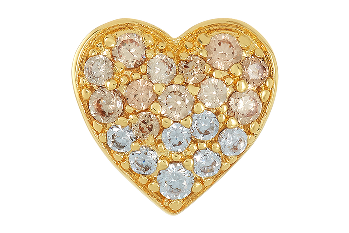 Gold heart shaped bead with CZ stones for use with DBW interchangeable bracelets.