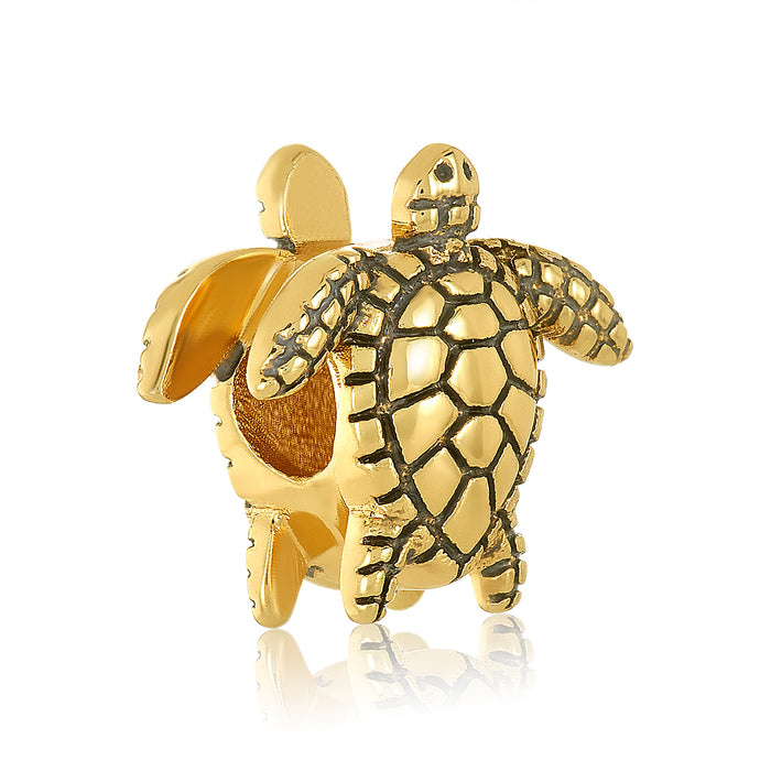 Gold turtle bead for use with DBW interchangeable bracelets.