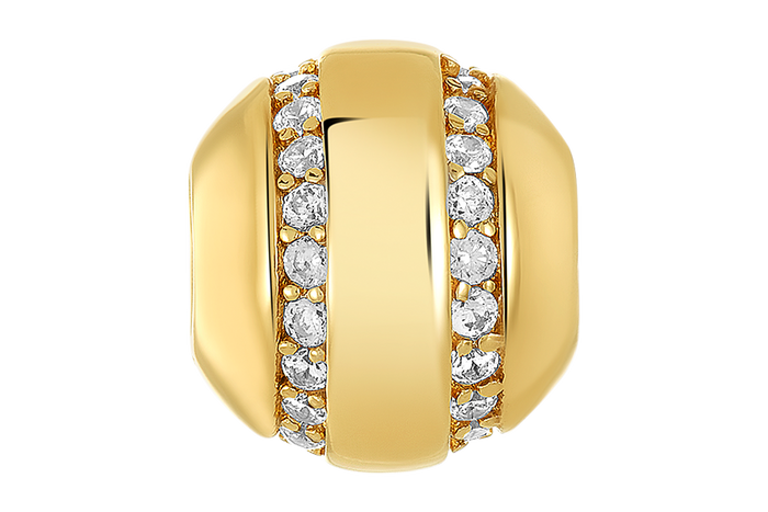Gold bead with two rows of clear CZ stones for use with DBW interchangeable bracelets.