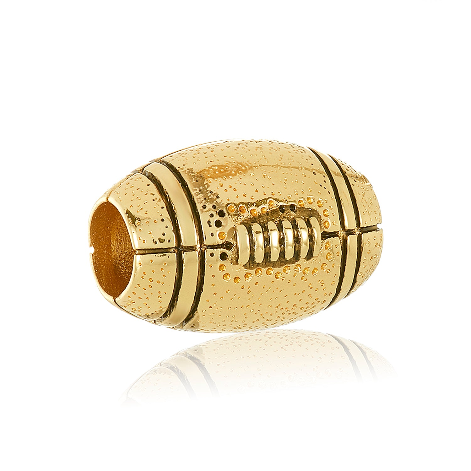 Gold football bead for use with DBW interchangeable bracelets.