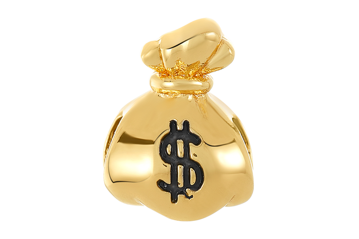 Gold money bag bead for use with DBW interchangeable bracelets.