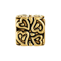 Golden Imprinted Heart Bead