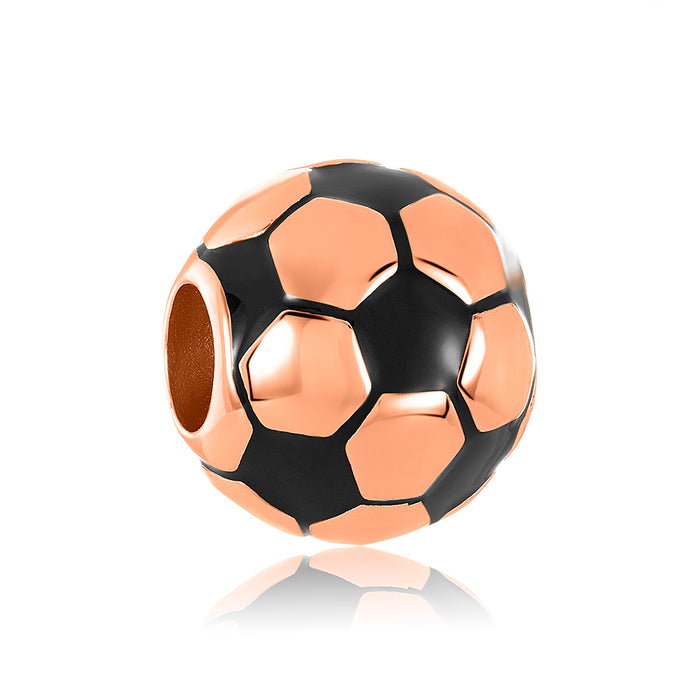 Rose gold soccer bead for DBW Jewelry