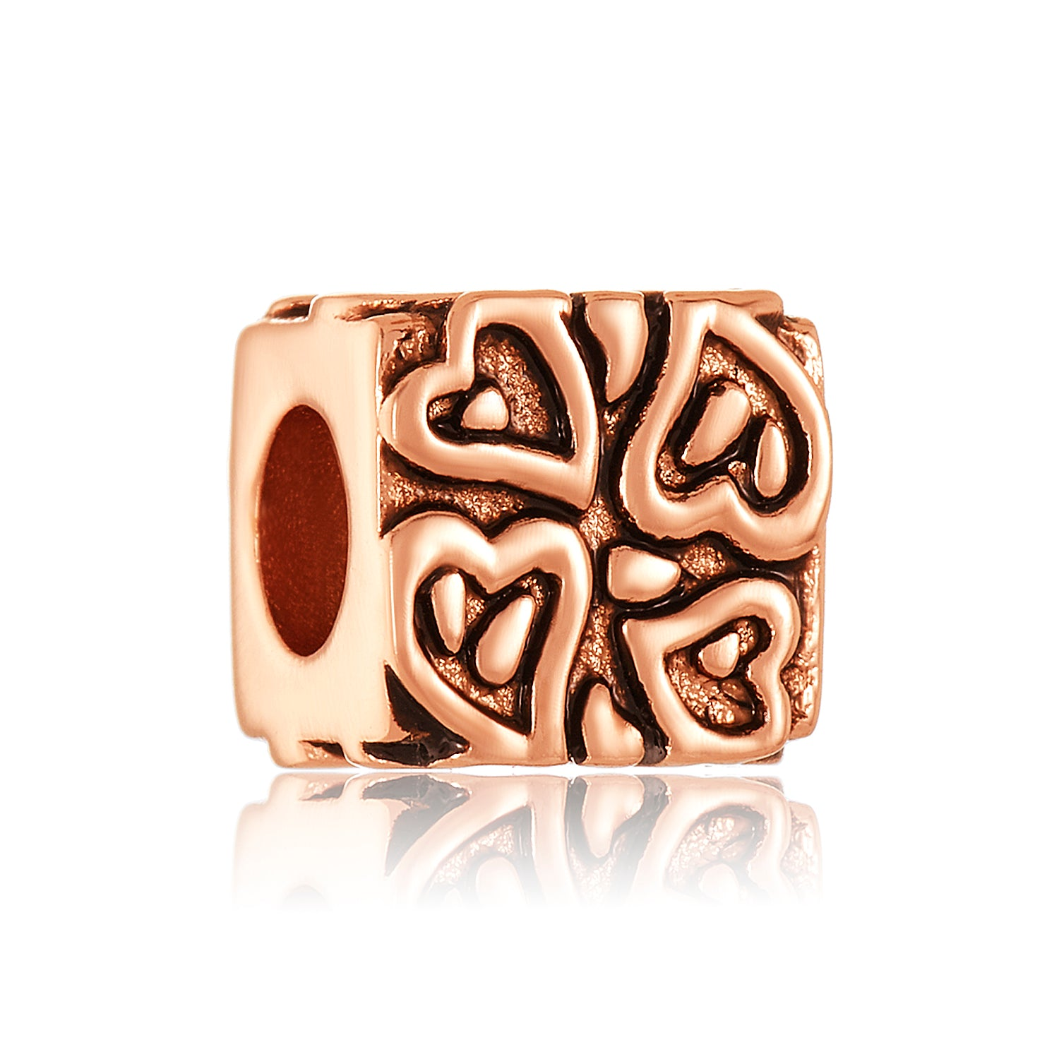 Rose gold square bead with heart design