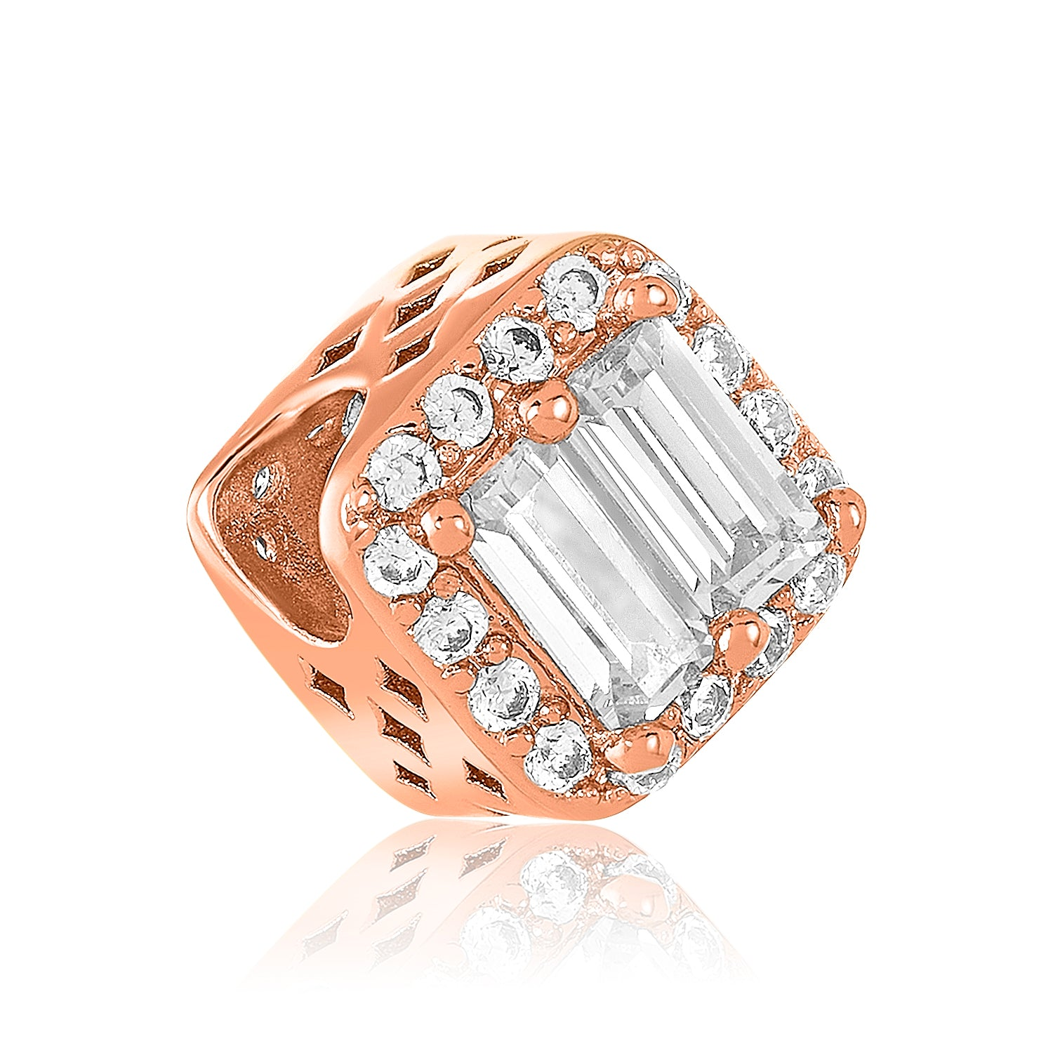 Rose gold clear CZ DBW bead