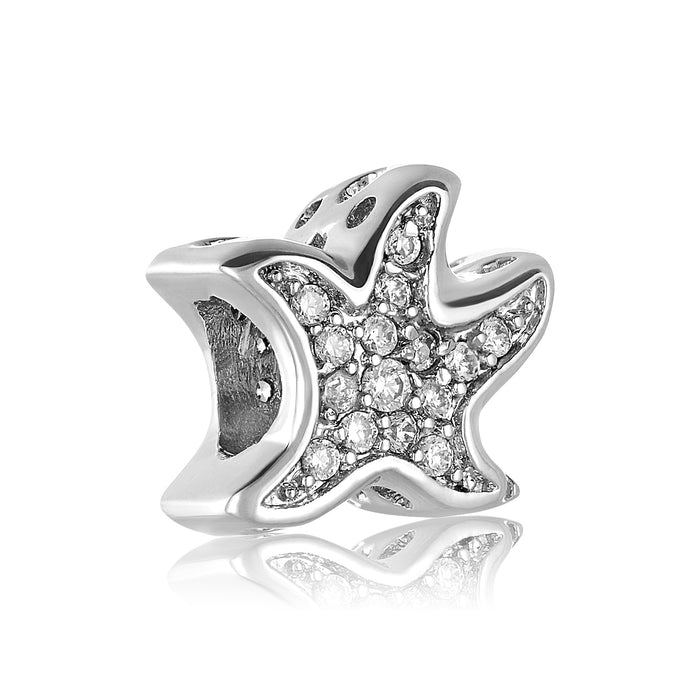 Silver starfish bead for use with DBW interchangeable bracelets