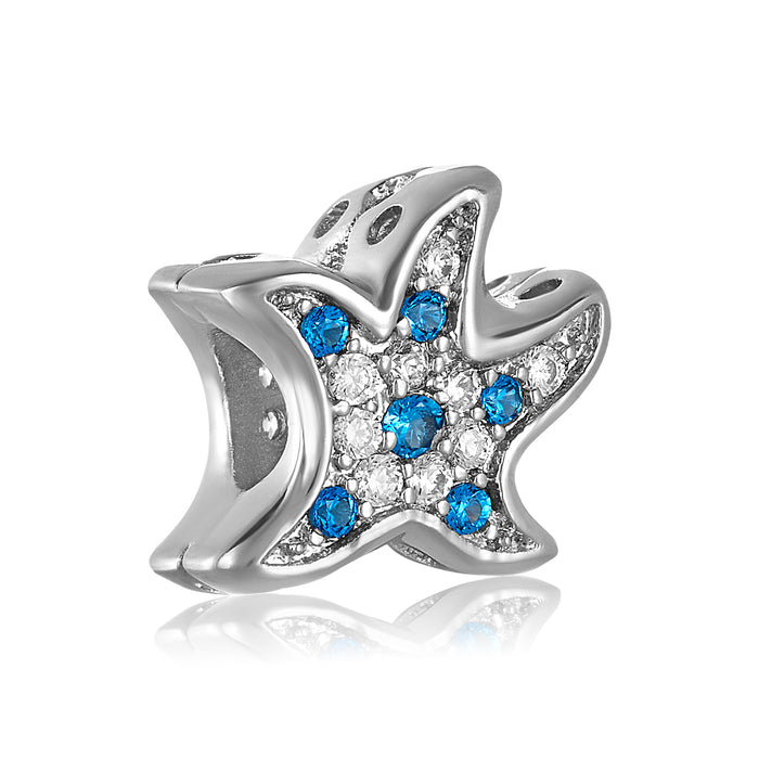 Silver starfish with blue and clear CZ stones