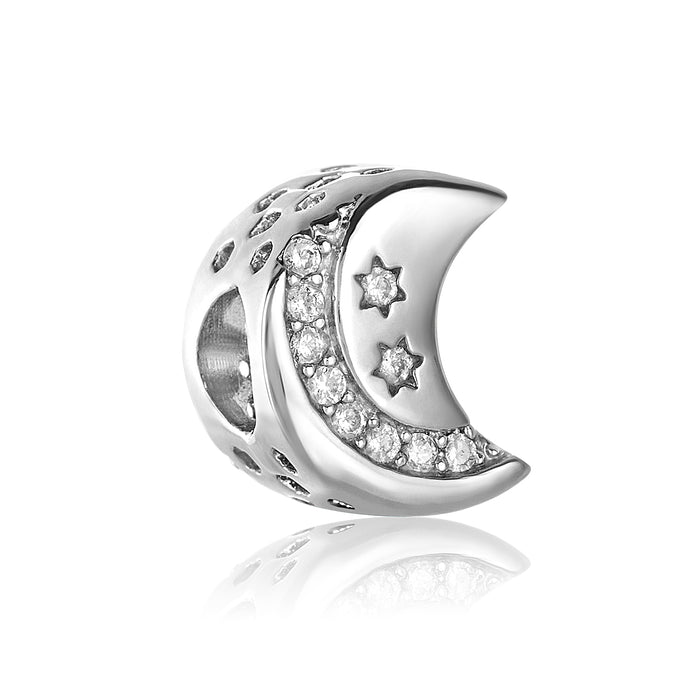Silver crescent moon bead for use with DBW interchangeable bracelets.