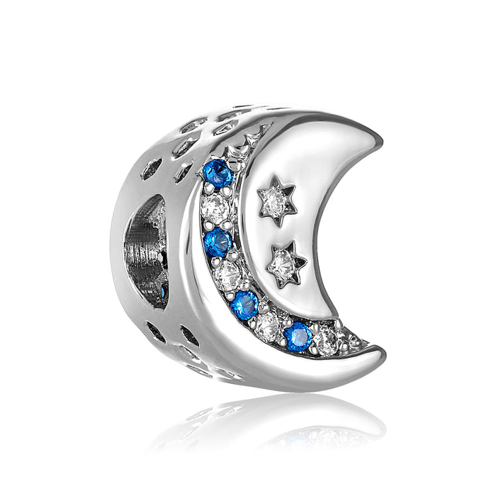 Silver crescent moon bead with blue and clear CZ stones